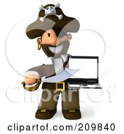 Royalty Free RF Clipart Illustration Of A 3d Young Pirate Pointing A Sword At A Laptop