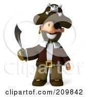 Royalty Free RF Clipart Illustration Of A 3d Young Pirate Facing Front With A Sword