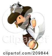 Royalty Free RF Clipart Illustration Of A 3d Young Pirate With A Sword Looking Around A Blank Sign
