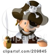 Royalty Free RF Clipart Illustration Of A 3d Young Pirate With A Sword Looking Down At A Blank Sign