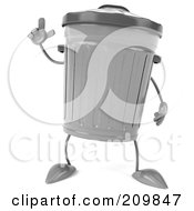 Royalty Free RF Clipart Illustration Of A 3d Trash Can Facing Left And Holding A Finger Up