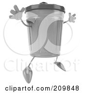 Royalty Free RF Clipart Illustration Of A 3d Trash Can Facing Right And Jumping