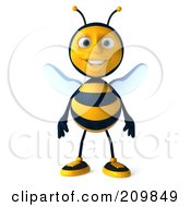 Royalty Free RF Clipart Illustration Of A 3d Bee Character Standing And Facing Front