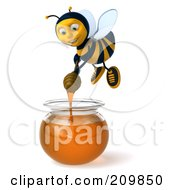 Royalty-Free (RF) Clipart Illustration of a 3d Bee Character Dipping A Honey Wand In A Bowl Of Honey by Julos