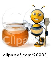 3d Bee Character Holding A Honey Wamd By A Bowl Of Honey