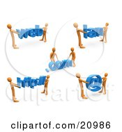 Clipart Illustration Of A Construction Zone Of Orange Men Carrying Web Com Lan Http And An Email Symbol by 3poD