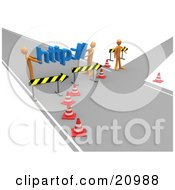 Clipart Illustration Of A Construction Zone Of Orange Men Carrying Http Across A Road Block