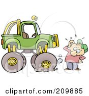Royalty Free RF Clipart Illustration Of A Toon Guy With A Nail In His Monster Trucks Tire by gnurf