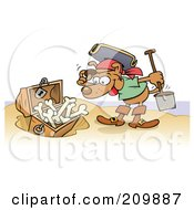Royalty Free RF Clipart Illustration Of A Happy Pirate Dog Discovering A Buried Treasure Chest Of Bones On A Beach by gnurf