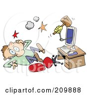 Royalty Free RF Clipart Illustration Of A Computer Knocking A Man On A Head With A Mallet by gnurf