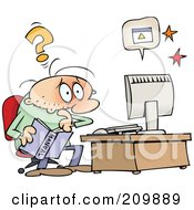 Royalty Free RF Clipart Illustration Of A Computer Illiterate Toon Guy Trying To Solve A Computer Problem by gnurf