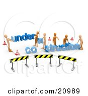 Clipart Illustration Of A Construction Zone Of Orange Men Carrying Letters Reading Under Construction