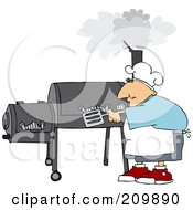 Royalty Free RF Clipart Illustration Of A Caucasian Man Cooking On A BBQ Smoker
