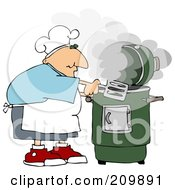 Caucasian Man Cooking With A Green Smoker