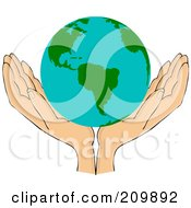 Pair Of Open Hands With An American Globe