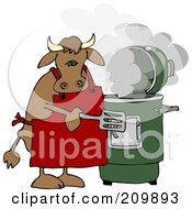 Bull Cooking With A Green Smoker