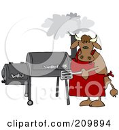 Royalty Free RF Clipart Illustration Of A Bull Cooking On A BBQ Smoker