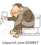 Ape Sitting On A Toilet And Pondering Over Toilet Paper