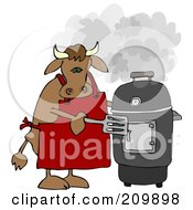 Royalty Free RF Clipart Illustration Of A Bull Cooking On A Black Smoker