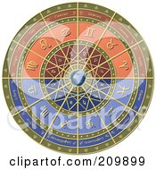 Royalty Free RF Clipart Illustration Of A Zodiac Astrology Circle Around Earth by Michael Schmeling