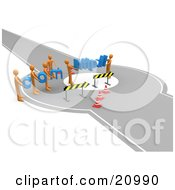 Clipart Illustration Of A Construction Zone Of Orange Men Carrying Com And Http Across A Road Block by 3poD