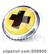 Shiny Yellow And Chrome Cross Website Button