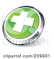 Shiny Green And Chrome Cross Website Button
