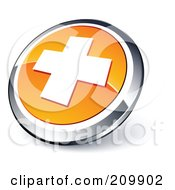 Shiny Orange And Chrome Cross Website Button