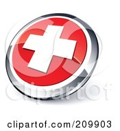 Shiny Red And Chrome Cross Website Button