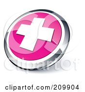 Shiny Pink And Chrome Cross Website Button