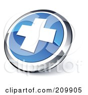 Shiny Blue And Chrome Cross Website Button