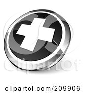 Shiny Black And Chrome Cross Website Button