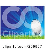 Royalty Free RF Clipart Illustration Of A Bursting Blue Background With A Rugby Ball On Grass