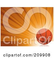 Royalty Free RF Clipart Illustration Of A Bursting Orange Background With A Basketball by elaineitalia