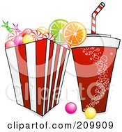 Royalty Free RF Clipart Illustration Of A Fountain Soda And Bucket Of Candy