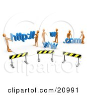 Clipart Illustration Of A Construction Zone Of Orange Men Carrying Http Www And Com Letters
