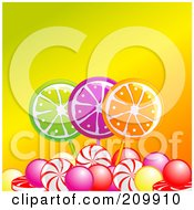 Royalty Free RF Clipart Illustration Of Fruity Lolipops And Candies Over Orange by elaineitalia