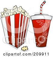 Royalty Free RF Clipart Illustration Of A Fountain Soda And Bucket Of Popcorn With A Film Reel