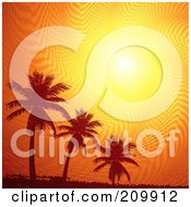 Royalty Free RF Clipart Illustration Of An Orange Sunset Sky Above Silhouetted Palm Trees And Grunge