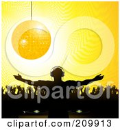 Royalty Free RF Clipart Illustration Of A Golden Disco Ball Suspended Over A Silhouetted Crowd And Party DJ