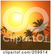 Royalty Free RF Clipart Illustration Of An Orange Sunset Sky Silhouetting A Tropical Beach With Palm Trees