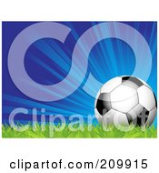 Royalty Free RF Clipart Illustration Of A Bursting Blue Background With A Soccer Ball On Grass by elaineitalia