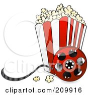 Royalty Free RF Clipart Illustration Of A Bucket Of Popcorn With A Film Reel by elaineitalia