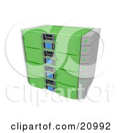 Clipart Illustration Of A Web Hosting Server Rack In Green by 3poD