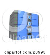 Clipart Illustration Of A Blue Double Server Rack by 3poD