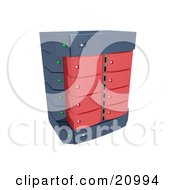 Clipart Illustration Of A Red Double Server Rack by 3poD
