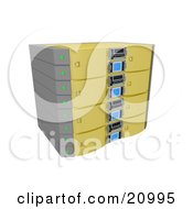 Clipart Illustration Of A Yellow Double Server Rack by 3poD