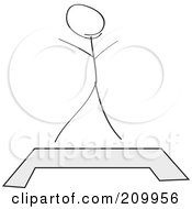 Royalty Free RF Clipart Illustration Of A Stick Fitness Character Standing Behind A Step Platform