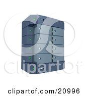 Clipart Illustration Of A Gray Double Server Rack by 3poD