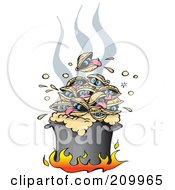 Royalty Free RF Clipart Illustration Of A Pile Of Hot Clams Cooking In A Pot Over Flames by Dennis Holmes Designs